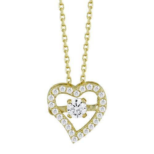 Μενταγιόν Καρδούλα Με Πέτρες Από Κίτρινο Χρυσό Κ14 M04869