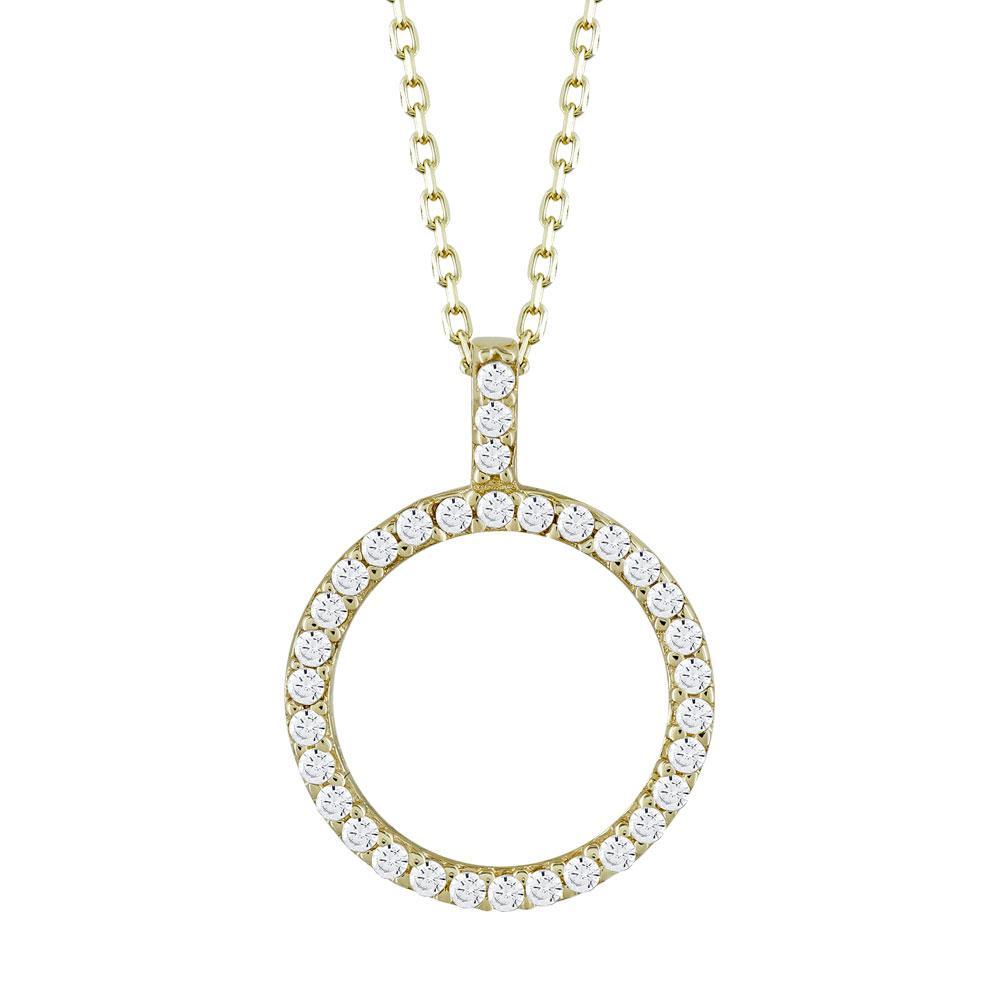 Μενταγιόν Κύκλος Με Πέτρες Από Κίτρινο Χρυσό Κ14 M05005