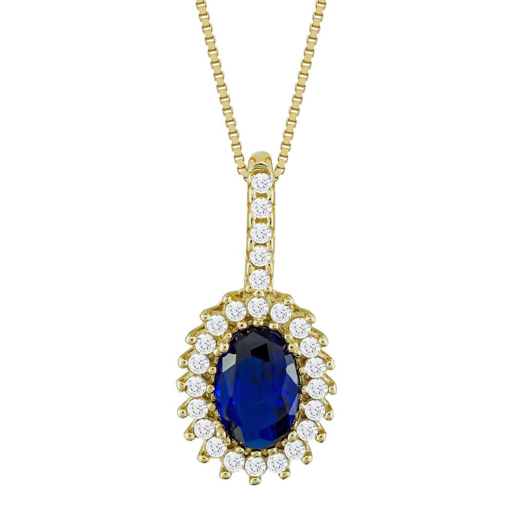 Μενταγιόν Ροζέτα Με Μπλε Πέτρα Από Κίτρινο Χρυσό Κ14 M74790