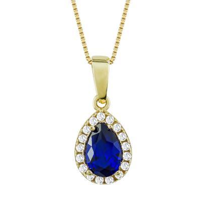 Μενταγιόν Δάκρυ Με Μπλε Πέτρα Από Κίτρινο Χρυσό Κ14 M78244