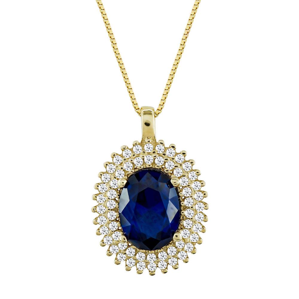 Μενταγιόν Ροζέτα Με Μπλε Πέτρα Από Κίτρινο Χρυσό Κ14 M00830