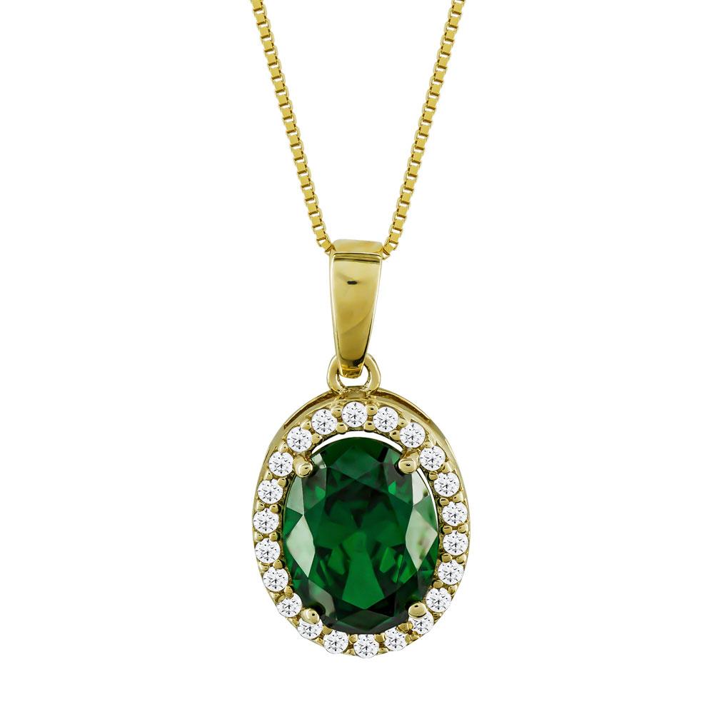 Μενταγιόν Ροζέτα Με Πράσινη Πέτρα Από Κίτρινο Χρυσό Κ14 M00596