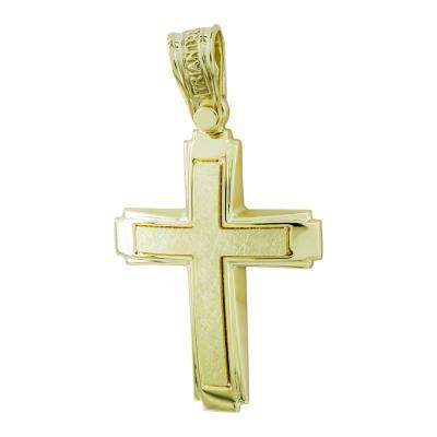 Σταυρός Βάπτισης Τριάντος Ανδρικός Σε Κίτρινο Χρυσό 14 Καρατίων ST2611