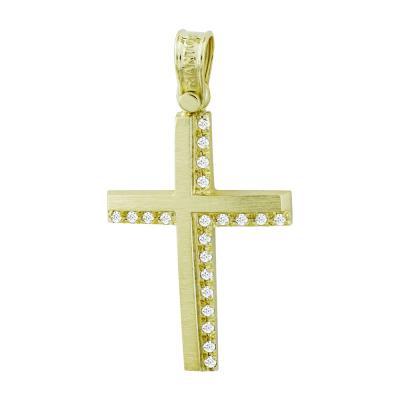 Σταυρός Βάπτισης Τριάντος Γυναικείος Σε Κίτρινο Χρυσό 14 Καρατίων Με Πέτρες ST2607