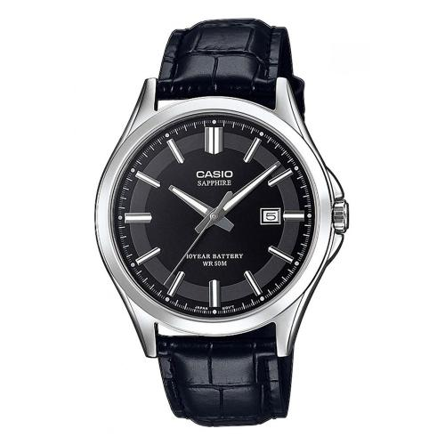 CASIO Collection Black Leather Strap MTS-100L-1AVEF