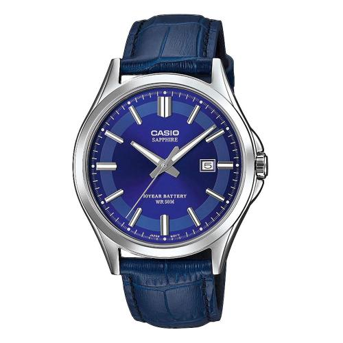 CASIO Collection Blue Leather Strap MTS-100L-2AVEF