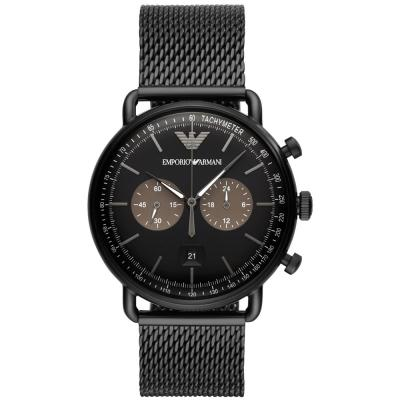 EMPORIO ARΜΑΝΙ Aviator Chronograph Black Stainless Steel Bracelet AR11142