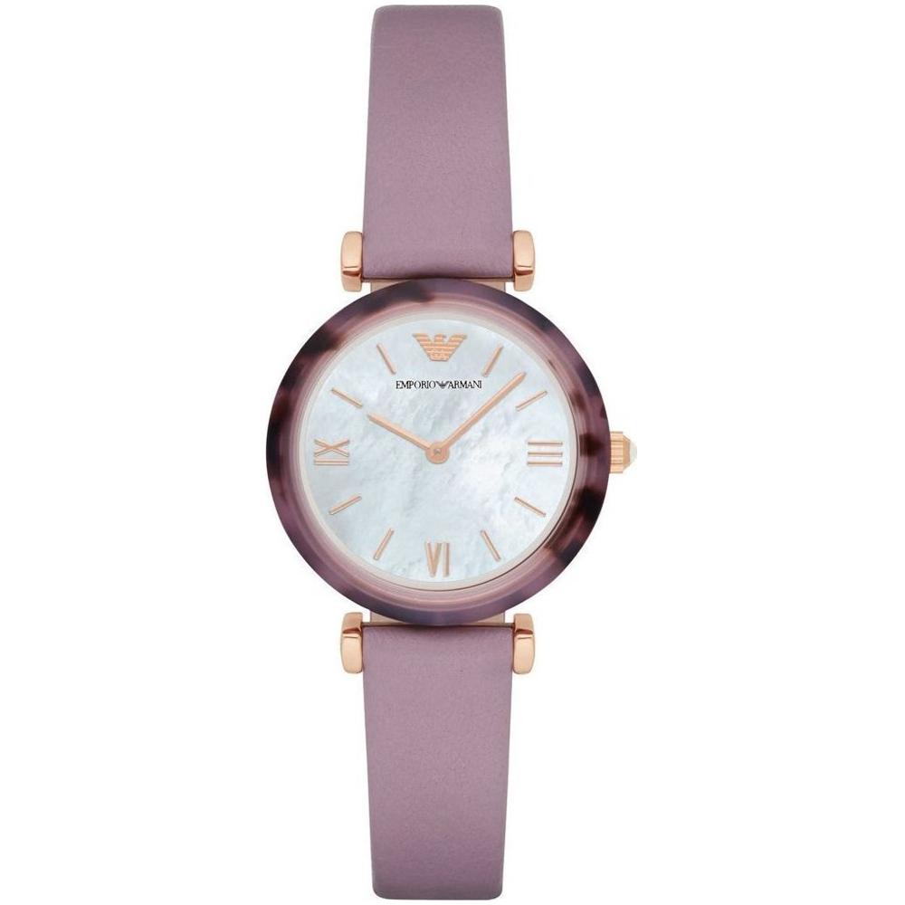 EMPORIO ARMANI Gianni T-Bar Rose Gold Purple Leather Strap AR11003