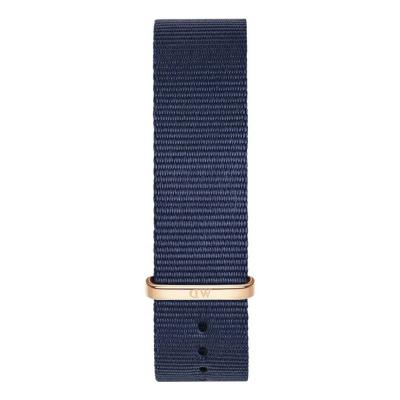 DANIEL WELLINGTON Classic Blue Cornwall Fabric Strap Rose Gold 20mm DW00200209