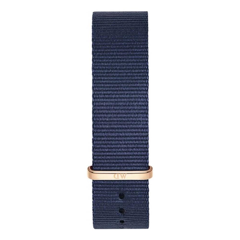 DANIEL WELLINGTON Classic Blue Cornwall Fabric Strap Rose Gold 20mm DW00200209