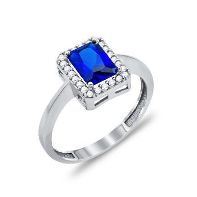 Δαχτυλίδι Μονόπετρο Με Μπλε Πέτρα Από Λευκόχρυσο Κ14 DX96865