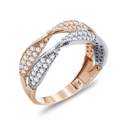 Δαχτυλίδι Με Πέτρες Από Δίχρωμο Χρυσό Κ14 DX03821