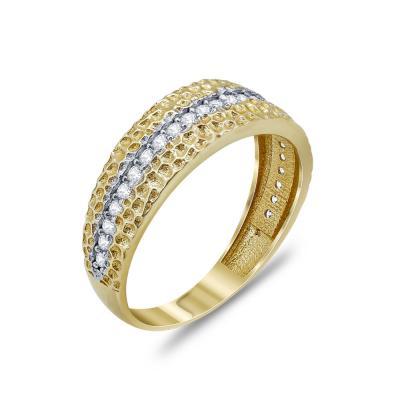 Δαχτυλίδι Με Πέτρες Από Δίχρωμο Χρυσό Κ14 DX94134