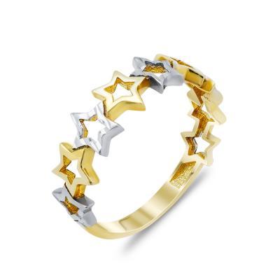 Δαχτυλίδι Με Aστεράκια Από Δίχρωμο Χρυσό Κ14 DX86234