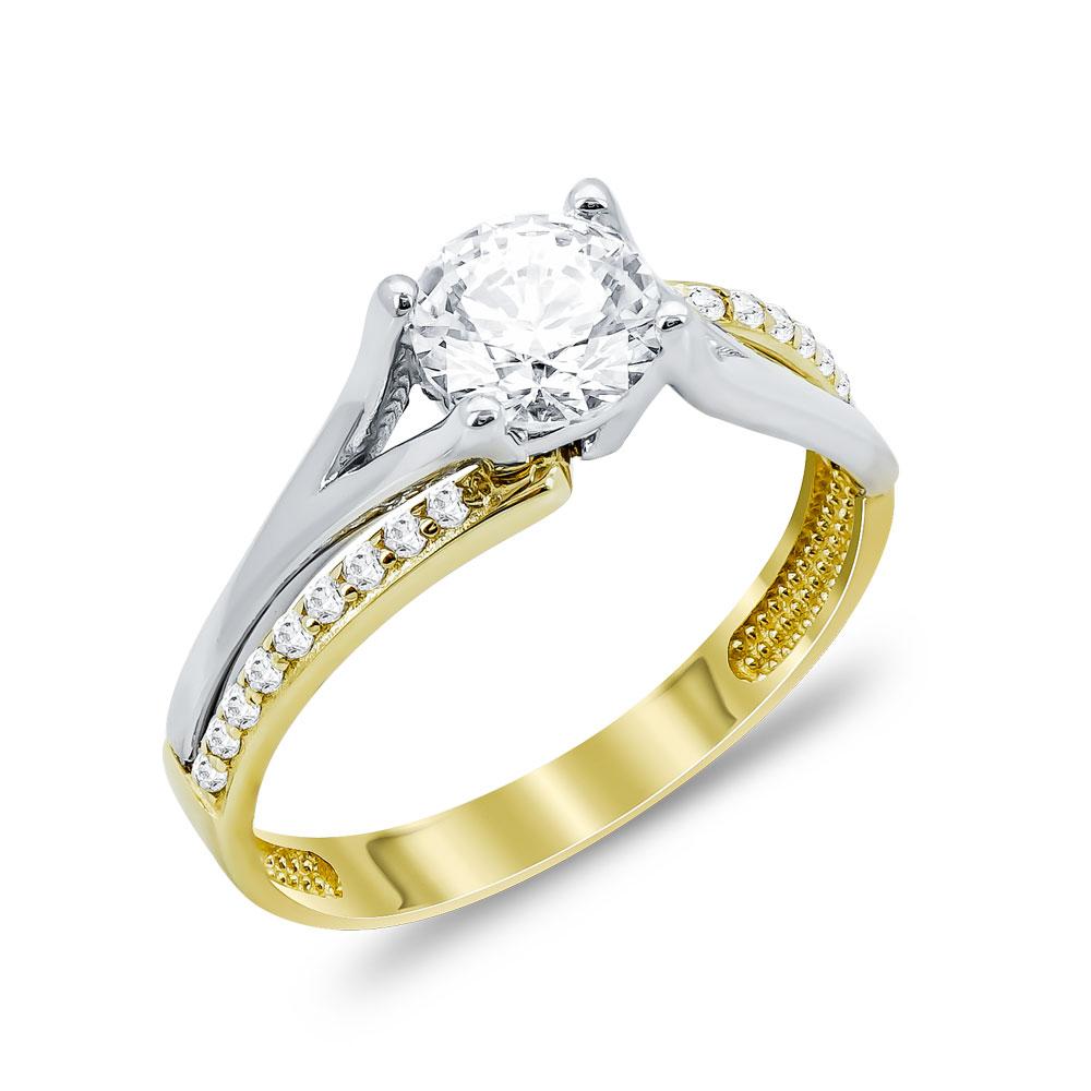 Δαχτυλίδι Μονόπετρο Από Δίχρωμο Χρυσό Κ14 DX04082