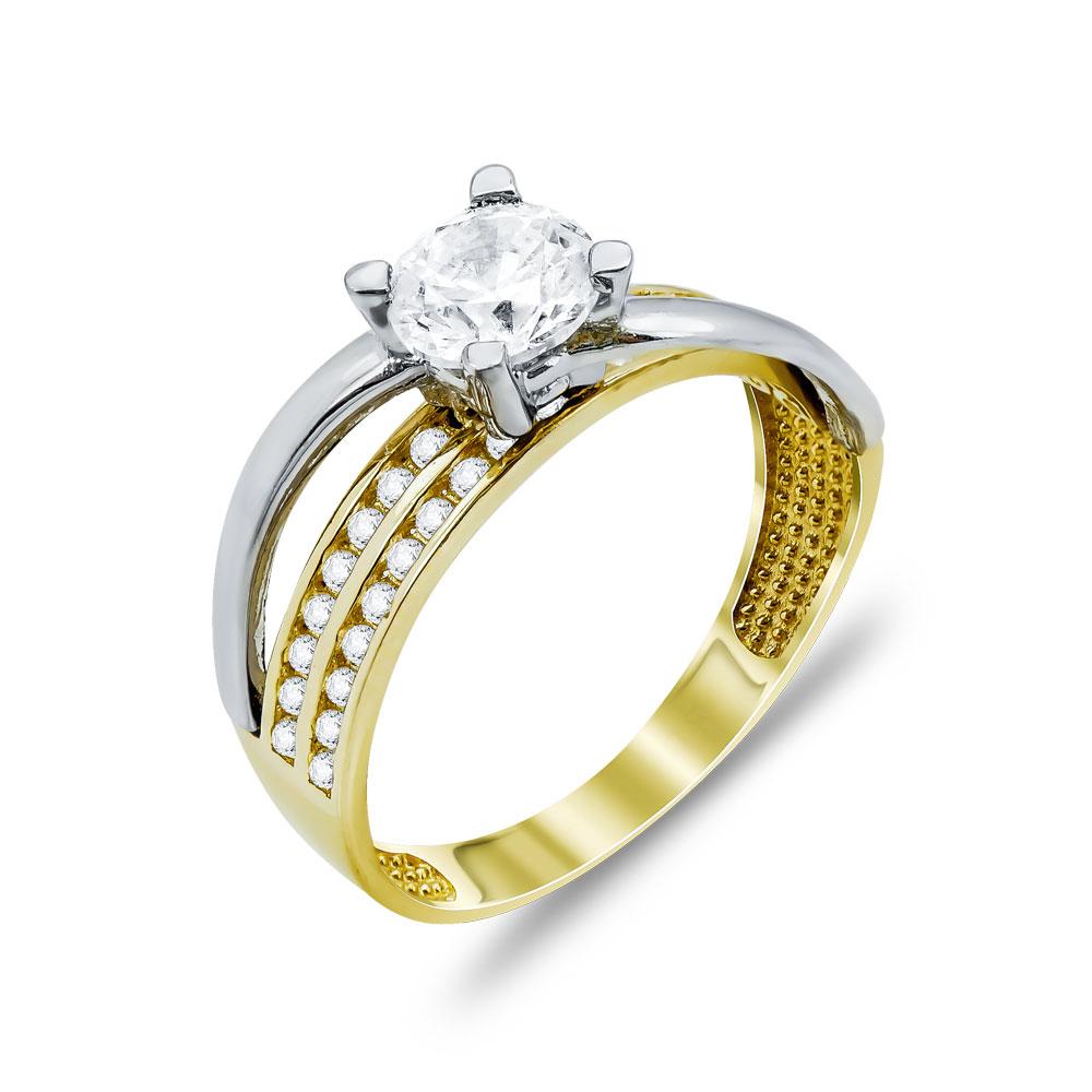 Δαχτυλίδι Μονόπετρο Από Δίχρωμο Χρυσό Κ14 DX99946