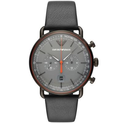 EMPORIO ARΜΑΝΙ Aviator Chronograph Grey Leather Strap AR11168