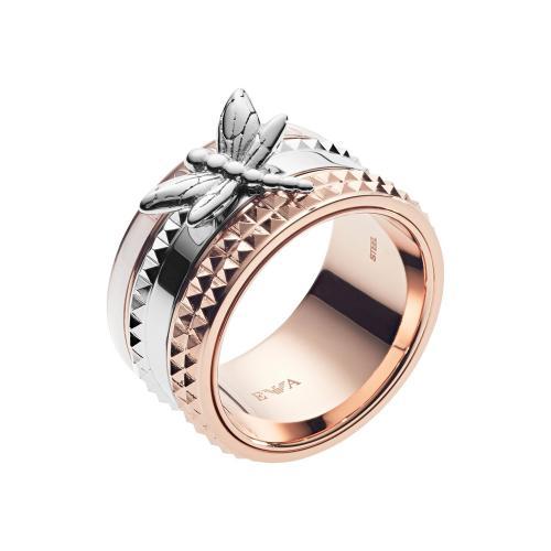 EMPORIO ARMANI Γυναικείο Δαχτυλίδι από Δίχρωμο Ανοξείδωτο Ατσάλι EGS2560221