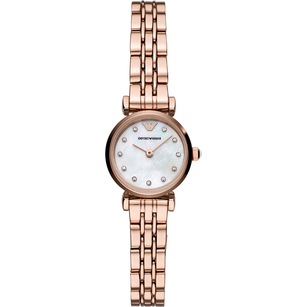 EMPORIO ARMANI Gianni T-Bar Crystals Rose Gold Stainless Steel Bracelet AR11203
