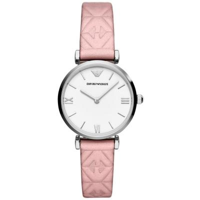 EMPORIO ARMANI Gianni T-Bar Pink Leather Strap AR11205