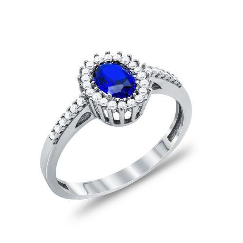 Δαχτυλίδι Μονόπετρο Με Μπλε Πέτρα Από Λευκόχρυσο Κ14 DX90696