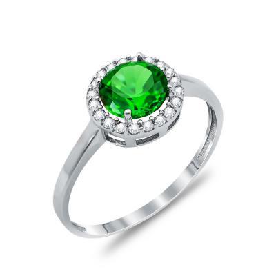 Δαχτυλίδι Μονόπετρο Με Πράσινη Πέτρα Από Λευκόχρυσο Κ14 DX74247