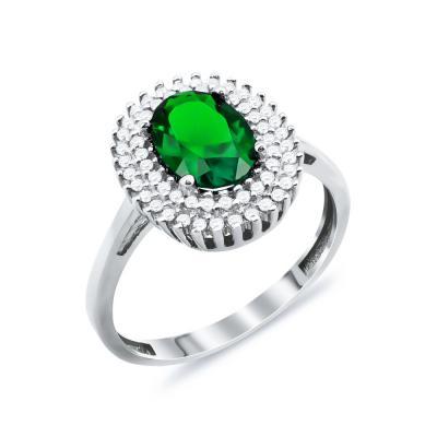leukoΔαχτυλίδι Μονόπετρο Με Πράσινη Πέτρα Από Λευκόχρυσο Κ14 DX90181xruso-daxtulidi-me-prasinh-petra-DX90181 (1)