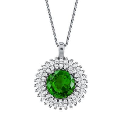Μενταγιόν Ροζέτα Με Πράσινη Πέτρα Από Λευκόχρυσο Κ14 M00782
