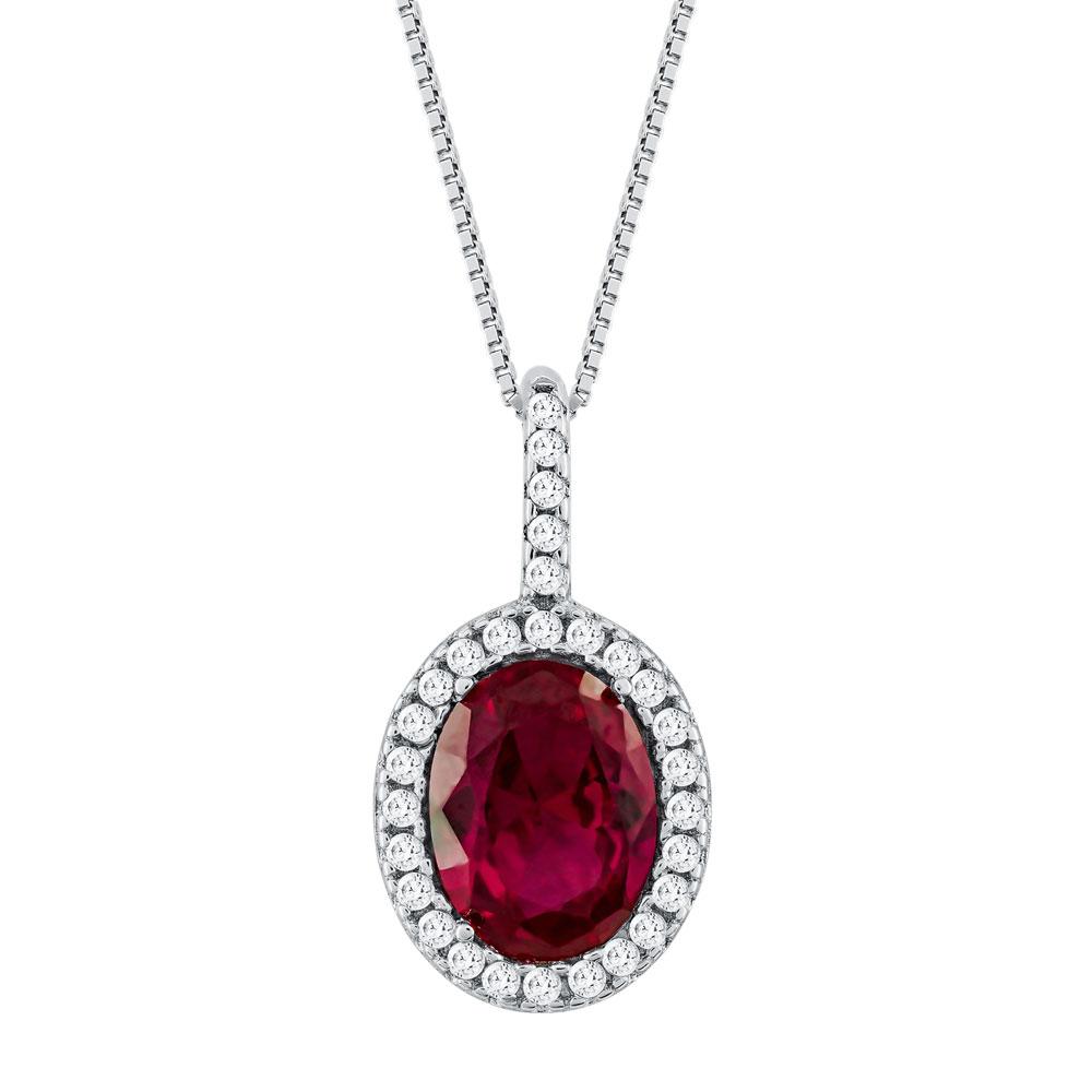Μενταγιόν Ροζέτα Με Φούξια Πέτρα Από Λευκόχρυσο Κ14 M92150
