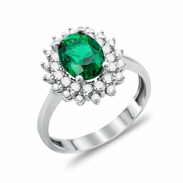 Δαχτυλίδι Μονόπετρο Με Πράσινη Πέτρα Από Λευκόχρυσο Κ14 DX00723