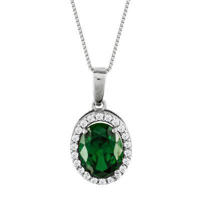 Μενταγιόν Ροζέτα Με Πράσινη Πέτρα Από Λευκόχρυσο Κ14 M00598