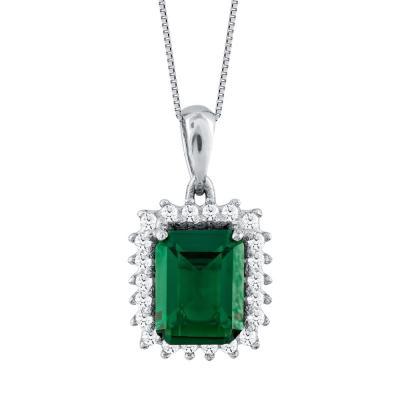 Μενταγιόν Με Πράσινη Πέτρα Από Λευκόχρυσο Κ14 M78497