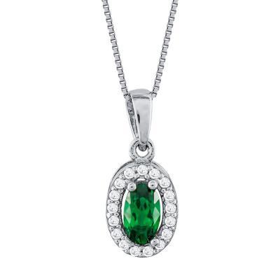 Μενταγιόν Ροζέτα Με Πράσινη Πέτρα Από Λευκόχρυσο Κ14 M99544