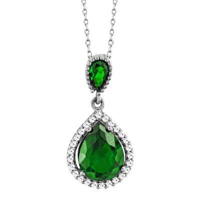 Μενταγιόν Δάκρυ Με Πράσινη Πέτρα Από Λευκόχρυσο Κ14 M03243