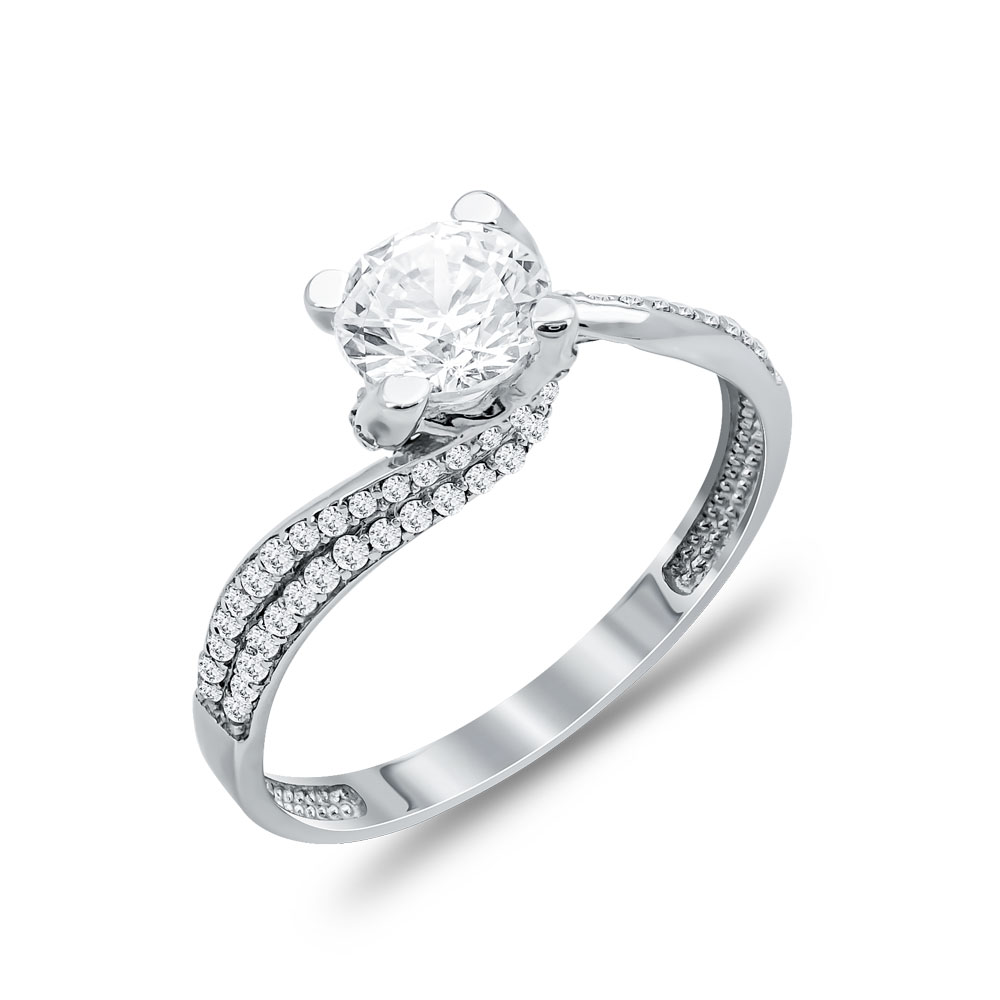 Δαχτυλίδι Μονόπετρο Από Λευκόχρυσο Κ9 DX03943