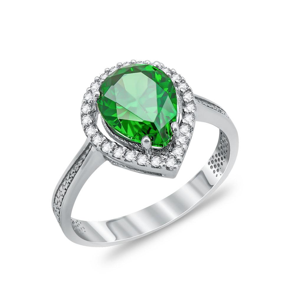 Δαχτυλίδι Δάκρυ Μονόπετρο Με Πράσινη Πέτρα Από Λευκόχρυσο Κ14 DX03239