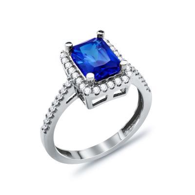 Δαχτυλίδι Μονόπετρο Με Μπλε Πέτρα Από Λευκόχρυσο Κ14 DX03376