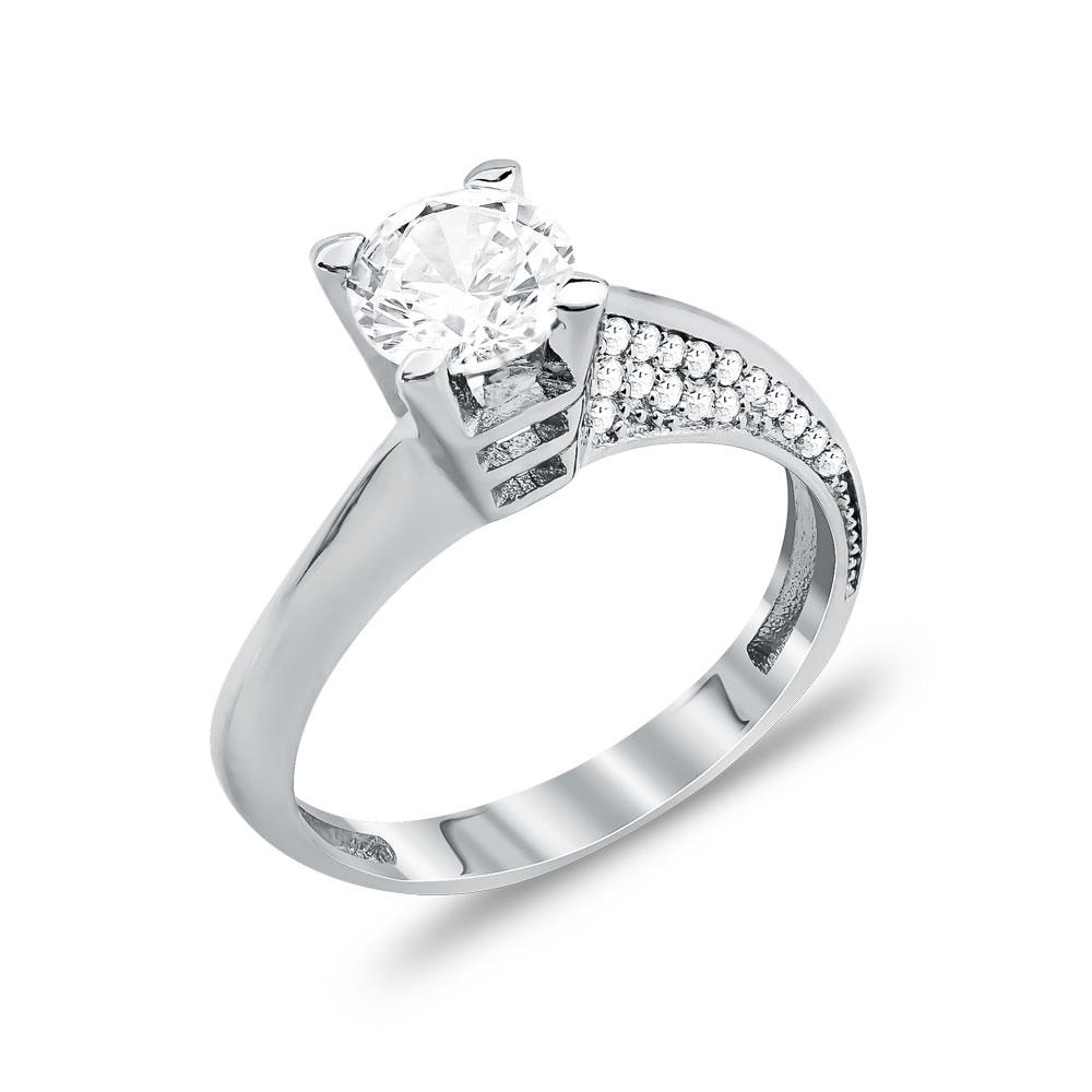 Δαχτυλίδι Μονόπετρο Από Λευκόχρυσο Κ14 DX04451