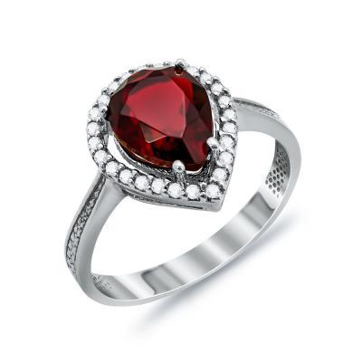 Δαχτυλίδι Δάκρυ Μονόπετρο Με Κόκκινη Πέτρα Από Λευκόχρυσο Κ14 DX03245