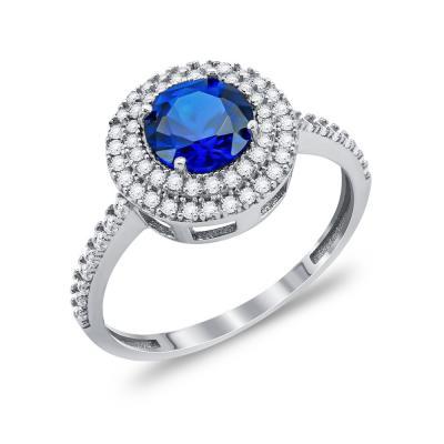 Δαχτυλίδι Μονόπετρο Με Μπλε Πέτρα Από Λευκόχρυσο Κ14 DX00603