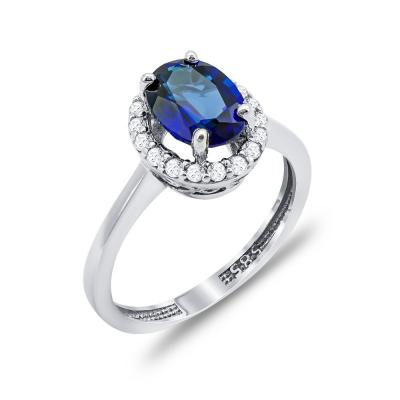 Δαχτυλίδι Μονόπετρο Με Μπλε Πέτρα Από Λευκόχρυσο Κ14 DX00753
