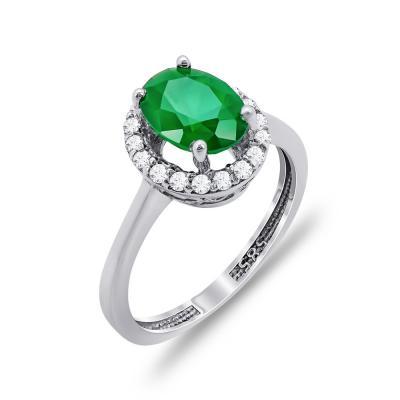Δαχτυλίδι Μονόπετρο Με Πράσινη Πέτρα Από Λευκόχρυσο Κ14 DX00447