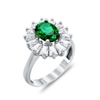 Δαχτυλίδι Μονόπετρο Με Πράσινη Πέτρα Από Λευκόχρυσο Κ14 DX00729