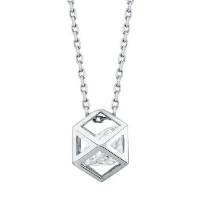 Μενταγιόν Πολύγωνο Με Πέτρα Από Λευκόχρυσο Κ14 M03322