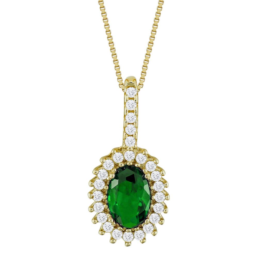 Μενταγιόν Ροζέτα Με Πράσινη Πέτρα Από Κίτρινο Χρυσό Κ14 M90705