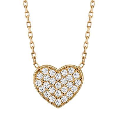 Μενταγιόν Καρδούλα Με Πέτρες Από Ροζ Χρυσό Κ14 M03880