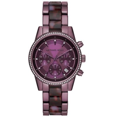 Michael KORS Ritz Crystals Chronograph Purple Stainless Steel Bracelet MK6720