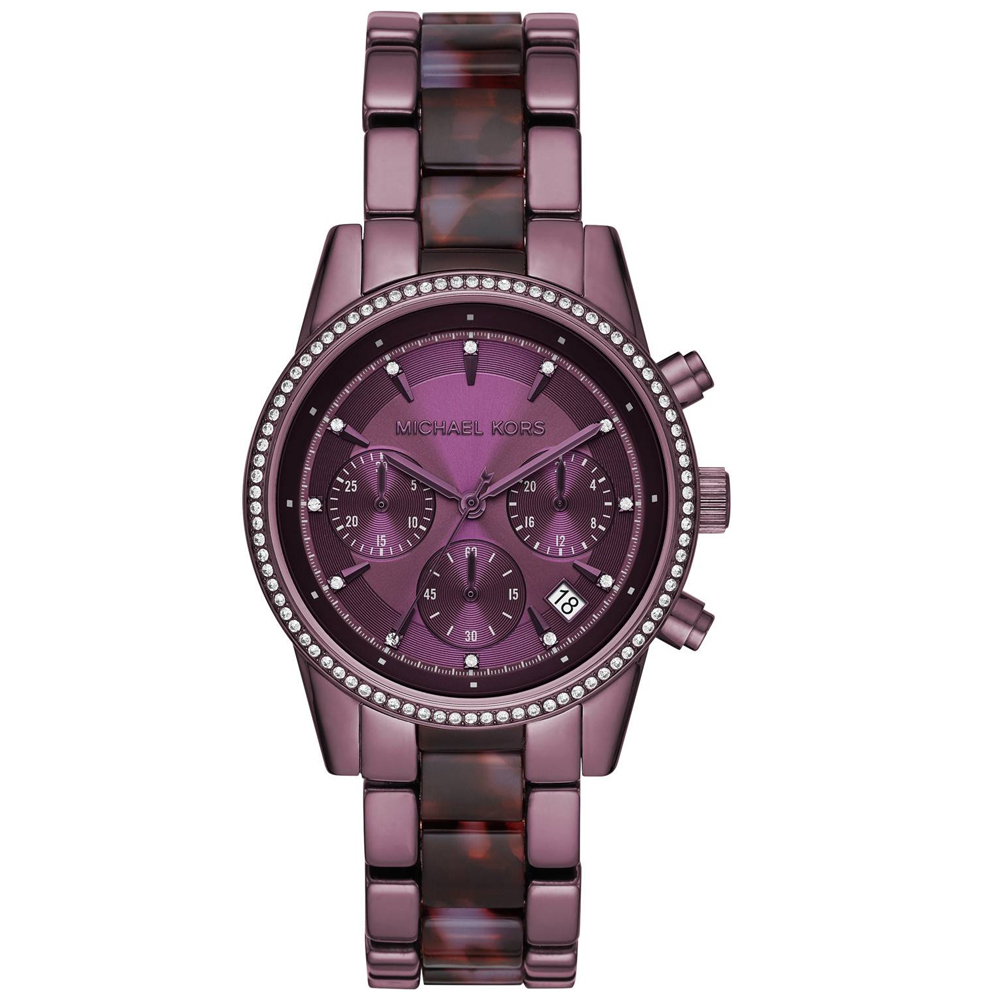 Michael KORS Ritz Crystals Chronograph Purple Stainless Steel Bracelet MK6720