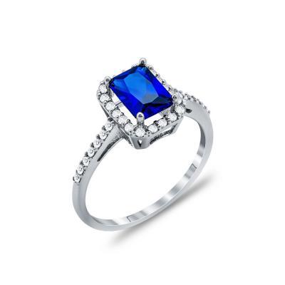 Δαχτυλίδι Μονόπετρο Με Μπλε Πέτρα Από Λευκόχρυσο Κ14 DX00172