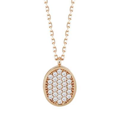 Μενταγιόν Κύκλος Με Πέτρες Από Ροζ Χρυσό Κ14 M03880